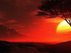 Red Night Sky In Summer Beautiful Romantic Hd Desktop ...
