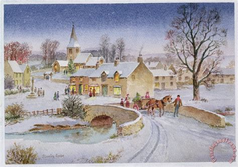 Thomas Kinkade Christmas Tree Village by Stanley Cooke Christmas Eve In The Village Painting