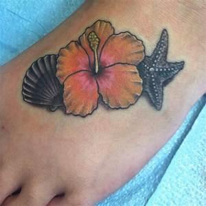 Sea shell, starfish & hibiscus flower tattoo on my foot ...