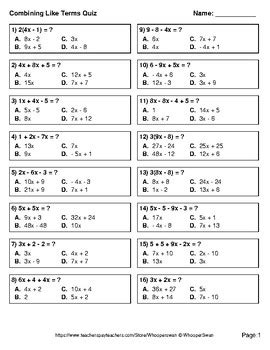 combining  terms quiz test assessment worksheets