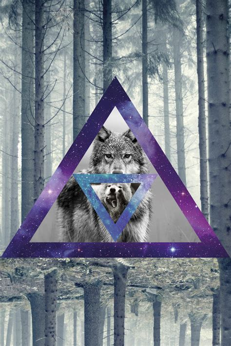 Geometric Wolf Phone Wallpaper by Wolf Triangles Wood Woods Galaxy Galaxies
