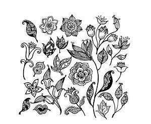Black and white flower pattern vector Free Vector / 4Vector