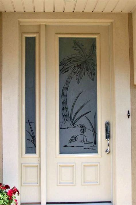 entry door etched  site palm tree privacy  art