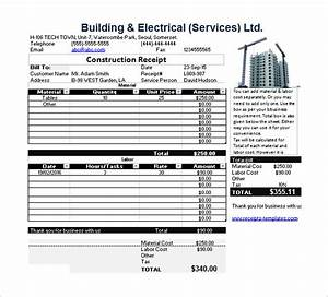 construction receipt template receipt template doc for word documents in different types