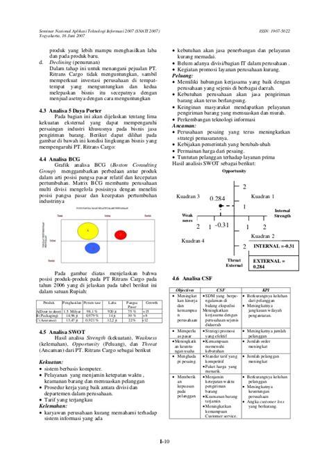 Jurnal analisis untuk perencanaan strategi sistem dan