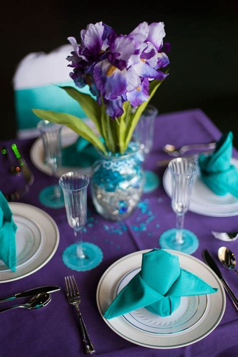 Peacock Purpleturquoise Wedding Decor Table Settings My