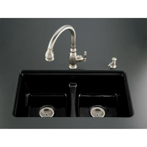 lowes cast iron sink shop kohler deerfield double basin undermount enameled