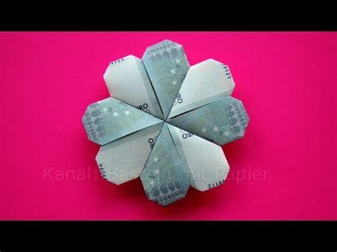 geldscheine falten kleeblatt blume diy origami geld