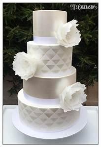 Geometric White On White Wedding Cake