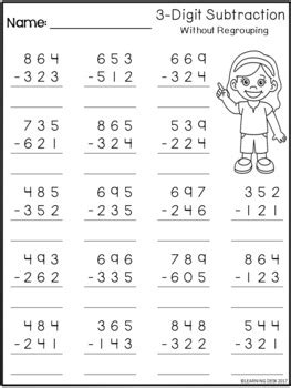 2nd grade math worksheet 3 digit subtraction with regrouping 3 digit subtraction without regrouping worksheets by