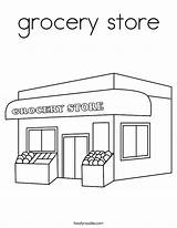 Grocery Coloring Built California Usa sketch template