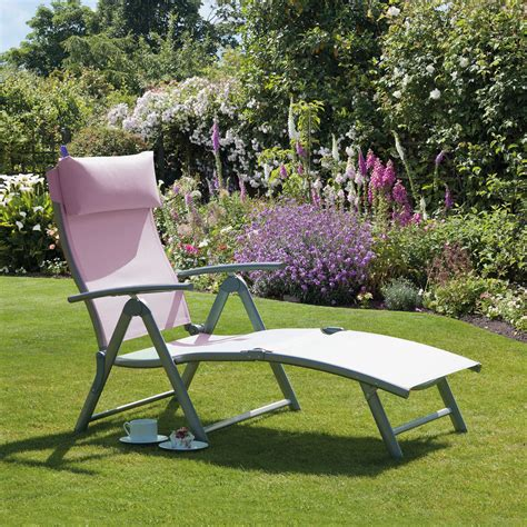 suntime pink reclining sun lounger from gardens and