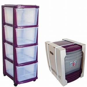 Tour De Rangement : tour de rangement plastique 4 tiroirs avec roulettes couleur prune ~ Teatrodelosmanantiales.com Idées de Décoration