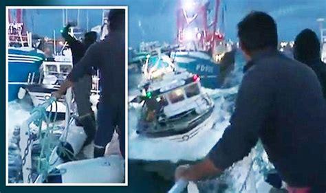 French Fishing Boat Attack french fishermen attack british fishing boats in english