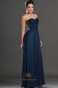 Navy Blue Strapless Sweetheart Embellished A-Line Chiffon ...