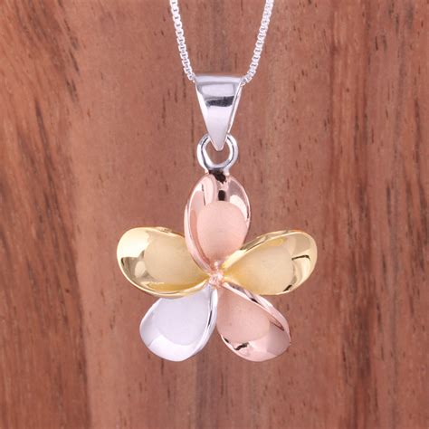 tri color  sterling silver plumeria hawaiian pendant