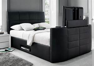 York Leather Black TV Bed - Leather Beds - Beds