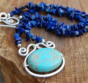 Lapis And Turquoise  Beaded Necklace  Silver  Aluminum