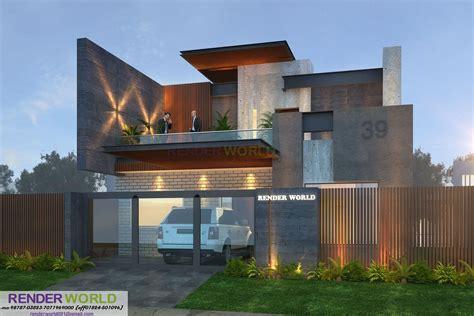 Modern Style Architectural Renders by Modern Elevation 3d Render Renderworld001 Gmail
