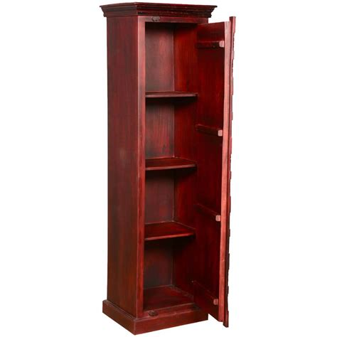 Thin Armoire by Golden Leaves Solid Mango Wood Narrow Armoire Cabinet