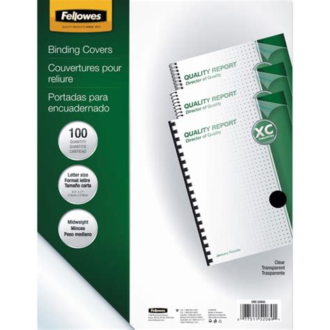 fellowes crystals binding presentation covers letter 100 pack clear 52089 fellowes crystals clear pvc binding covers 52089 b h photo