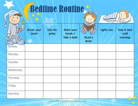 preschool bedtime routine chart nightime routine chart my 443