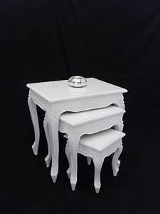 Beistelltische Weiß : beistelltisch tisch blumentisch 3er set antik stil massiv ~ Pilothousefishingboats.com Haus und Dekorationen