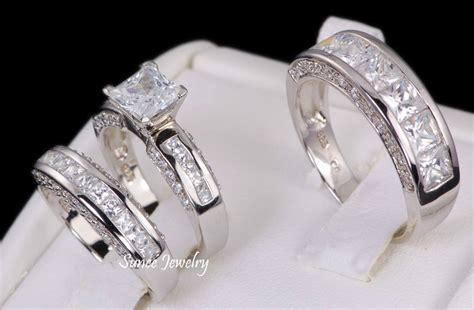 wedding bands sets his and matching his hers 3pc sterling silver wedding engagement bridal