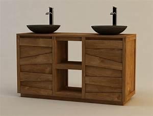 meuble double vasque teck obasinccom With meuble salle de bain suspendu en teck