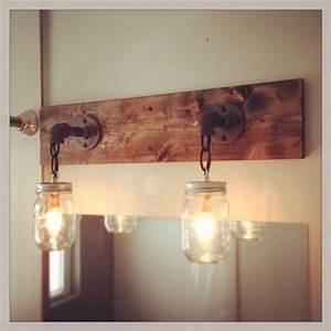industrial rustic modern wood handmade mason jar light With barn style vanity lights