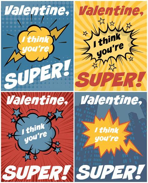 superhero  printable valentines allfreekidscraftscom