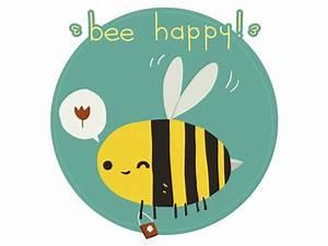 Bee Happy Postcard by lemon5ky   Dribbble   Dribbble  Happy