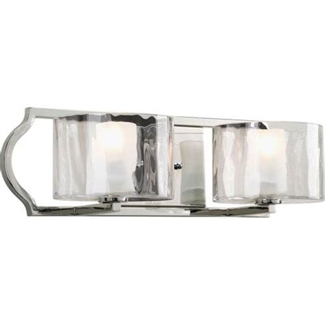 Polished Nickel Bathroom Lighting Fixtures by Progress Lighting Caress Polished Nickel Two Light Bath
