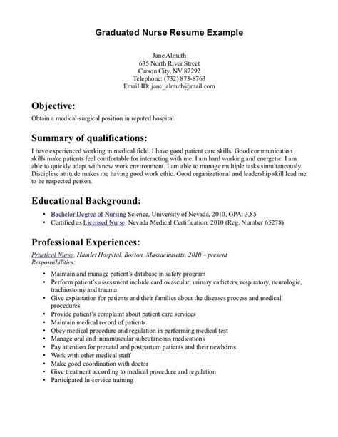 How To Write A Nursing Resume by New Graduate Resume Sle Writing Zazu Nursing