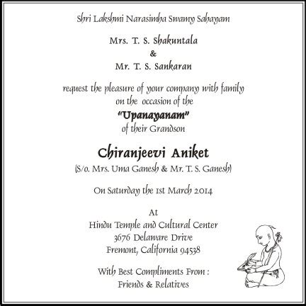thread ceremony invitation wording sample text parekh cards