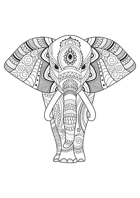 elephant  simple patterns elephants adult coloring pages