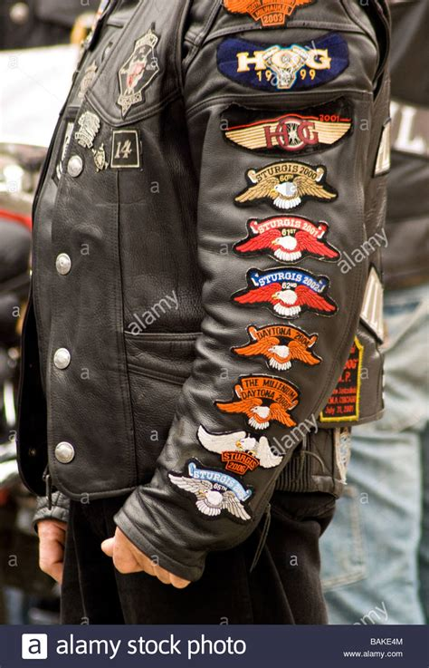 close   polish biker  jacket  arm patches