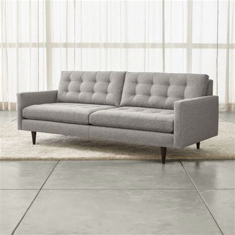 petrie grey modern tufted sofa crate and barrel