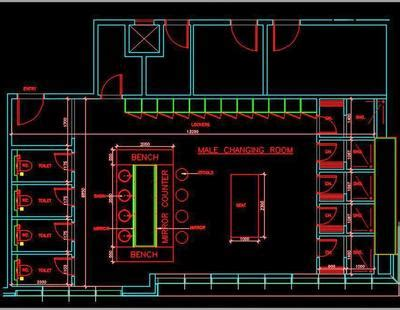 swimming pool changing room dwg floor layout plan