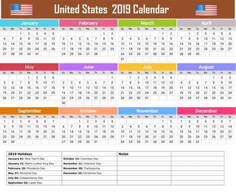 2019 Calendar With Holidays