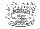 Birthday Happy Cake Pages Party Coloring Screen sketch template