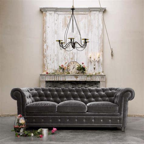 velvet chesterfield sofa décor de provence grey velvet