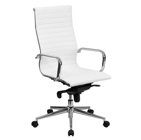 white office chair leather high back white ribbed upholstered leather executive