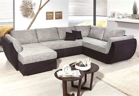 Wohnzimmer U Form by Wohnlandschaft Ontario 326x231 Cm Mikrofaser Grau Schwarz