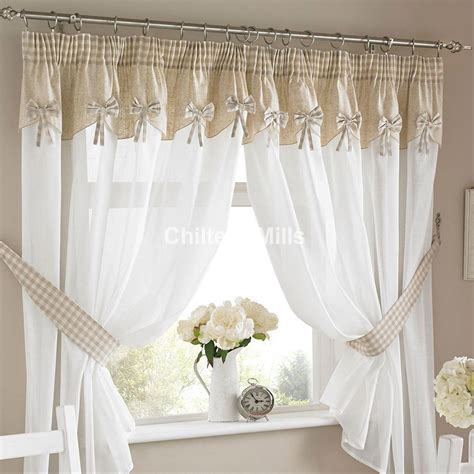 Bows Readymade Kitchen Curtains With Attached Pelmet