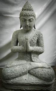 Statue De Bouddha En Pierre Volcanique Position Prire 80cm
