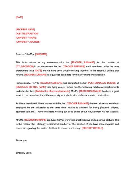 recommendation letter   teacher  sample letters