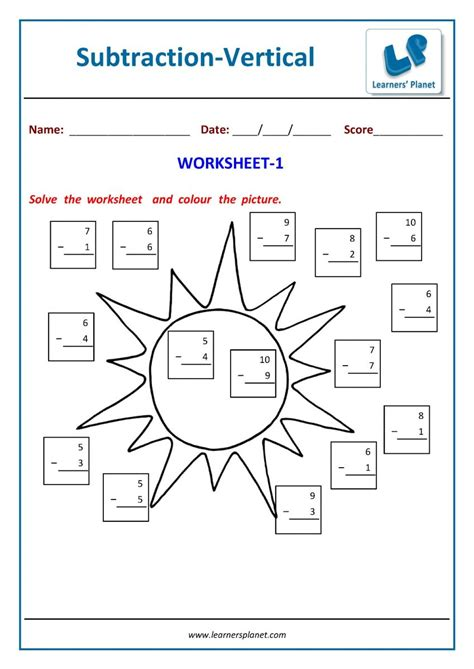 maths vertical format subtraction worksheets  class