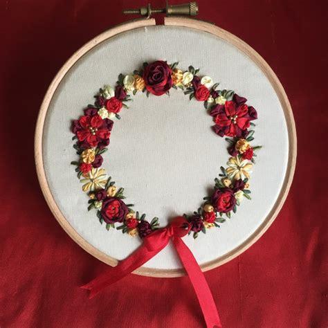 christmas wreath silk ribbon embroidery kit laurelin