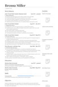 resume objective for social work internship exle resume exle of msw student resume